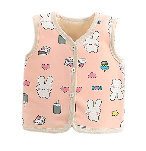 Vinesen Vest for Kids 3T Girls Winter Clothes Girls Flannel Vest Snap Buttons Autumn Winter New Waistcoat Warm 2-3 Years Pink Bunny