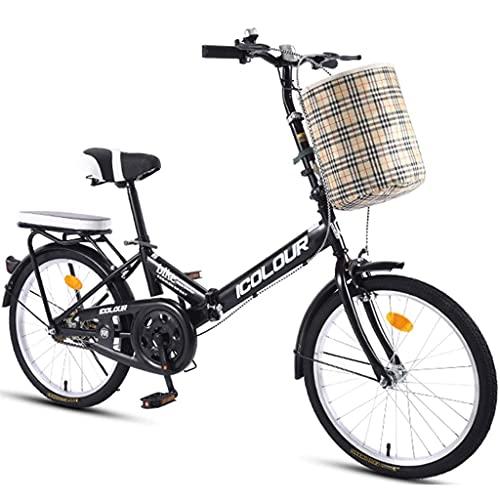 Bicicletas de montaña Bicicleta Plegable de una Velocidad Hombre Mujer Adulto Estudiante Ciudad Commuter Bicicleta Deportiva al Aire Libre con Canasta Mini Bicicleta Plegable 16 Pulgadas Vel