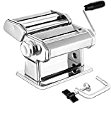 Pasta Maker Machine Noodle Cutter 304 Stainless Steel Manually Pasta Roller Machine Cutter (Silver)