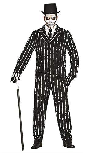 Fiestas Guirca Herren-Kostüm mit Knochen-Aufdruck, Farbe Weiß und Schwarz, L (52), 84486