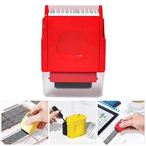 Tiggrioe Mini Identity Protection Stempelrolle, Dichtungssicherheit Verstecken ID Verstümmelter unordentlicher Code Selbstfärbender Stempel Diebstahlschutz und Datenschutz (Rot)