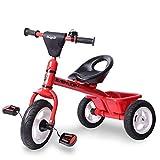 Triciclo Bebe,Coche Triciclo Niño Bicicleta Asiento Ajustable Ruedas Gomas Conducción Silenciosa para Niños de 6 Meses a 5 Años Máx 30 kg, Red