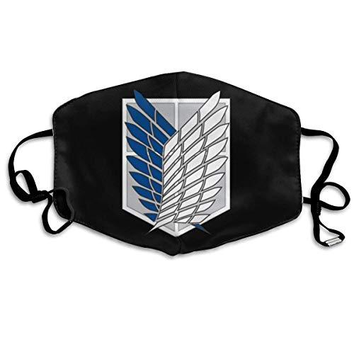 NGNHMFD Mundschutz Unisex Reusable Mouth Cover Face Cover with Anime Attack On Titan Recon Corps Logo Dust Face Cover Adjustable Earloops