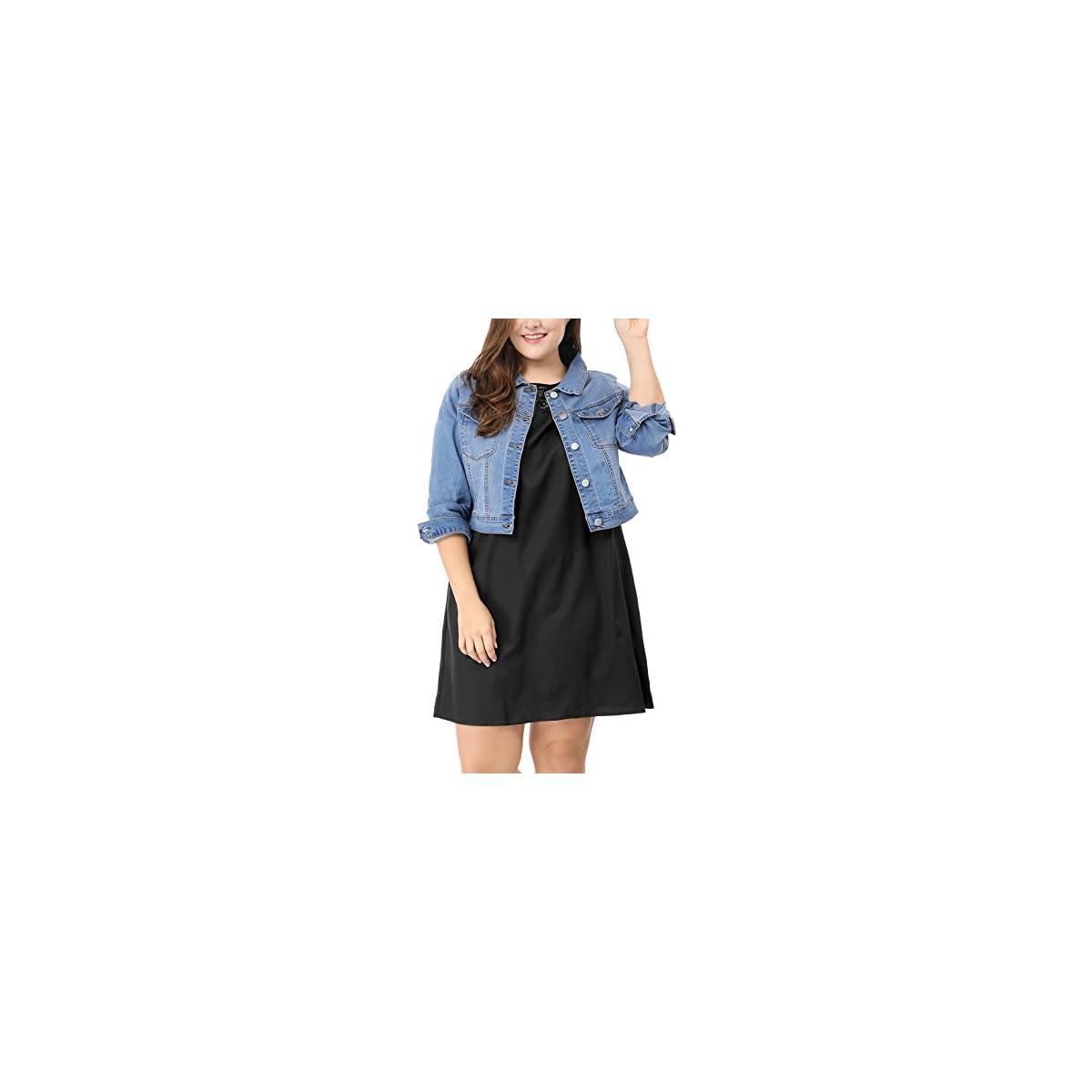 sourcingmap Damen Plus Size Langarm Button Crop Jeansjacke Jacke Hellblau