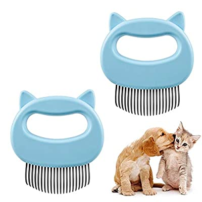 2 Pcs Cat Dog Comb Pet Hair Grooming Massage Comb, Cat Dog Hair Shedding Brush Pet Shell Comb for Removing Matted Tangled Fur and Loose Hair (Blue) from HonFHena