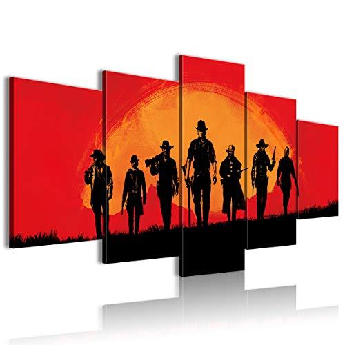 Póster impreso en lienzo 5 piezas Red Dead Redemption 2 regalo de casa nueva 150 x 80 cm, sin marco