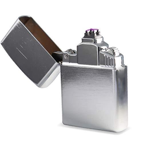 Bolido 【日本ブランド/保証付】プラズマライター 電子ライター USBライター 無炎 防風 ガス不要 オイル不要 4極点火 (ブラッシュシルバー)