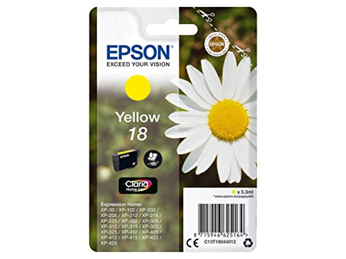 Original Epson–Epson Expression Home XP-415(18/c13t18044012)–Cartucho de tinta Amarillo–180páginas–3ml