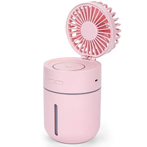Portable Hydraterende Nevel Fan, Desktop Mini USB Bevochtigen Fans Met Borstelloze DC Motor En 7 Kleuren Nachtlampje Functie Ingebouwde 2000Mah Lithium Batterij,Pink