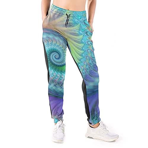 LAOLUCKY Pantalones deportivos para mujer con bolsillos ligeros y deportivos, Fractal Turquoise Octopus Hippie Art Blanco, XXL