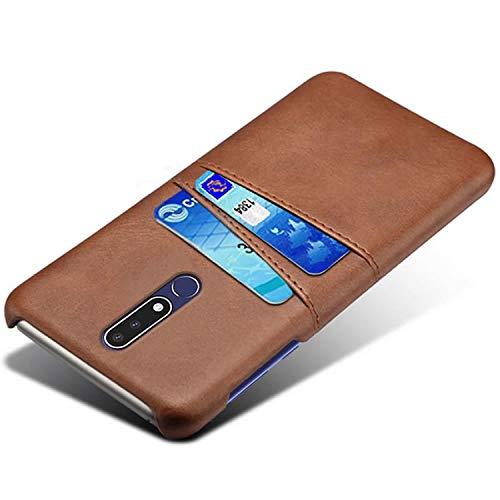 HualuBro Handyhülle für Nokia 7.1 Hülle, Premium PU Leder Ultra Slim Tasche Cover Stoßfest Bumper Hülle Schutzhülle Lederhülle Backcover Hüllen für Nokia 7.1 2018 (Braun)