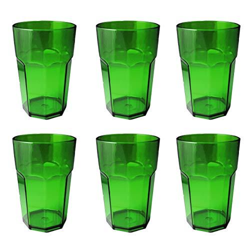 Omada Design Set di 6 Bicchieri bar, da bibita o long drink 42,5 cl, altezza 12,5 cm in plastica, infrangibili, impilabili forma ottagonale e lavabili in lavastoviglie linea Unglassy (6 pezzi Verdi)