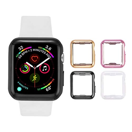 Tranesca 4 Pack 42mm Apple Watch Case with Built-in HD Clear Ultra-Thin TPU Screen Protector Cover Compatible with Apple Watch Series 2 and Apple Watch Series 3 42mm - (Clear+Black+Gold+Rose Gold)