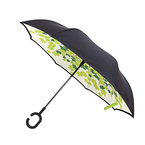 chiwanji C-Griff Reverse Regenschirm Sturmfest, Umgedrehter Golfschirm, umgekehrte Stockschirm, Schirm umgedreht zu öffnen - Grüner Schatten