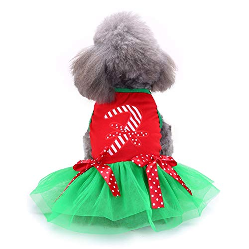 E-House Kerstmis leveringen Kerstmis huisdier hond puppy prinses jurk rok kleding zacht warm kostuum kleding - rood + groen L rood en groen.