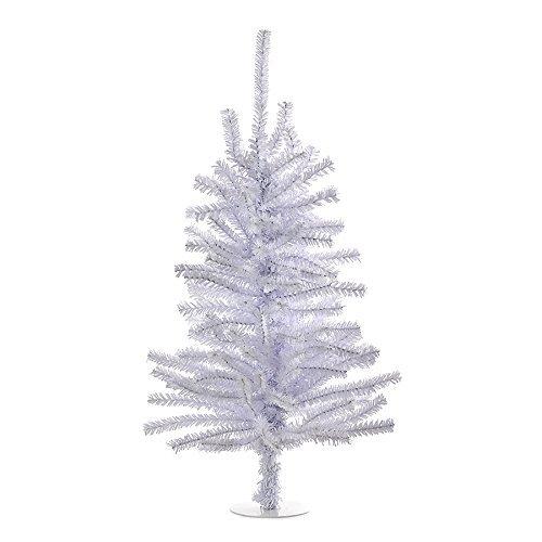 Kurt Adler Miniature White Shiny 18 Inch Christmas Tree with 140 Branch Tips TR2155W New