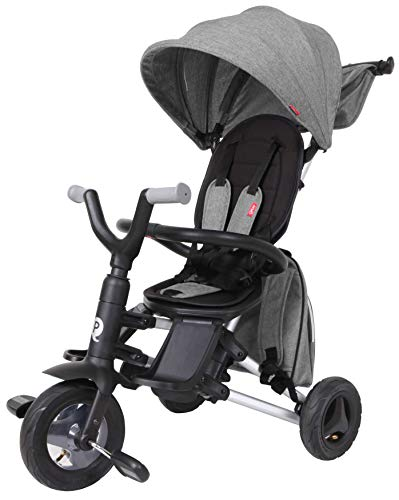 QPLAY Kinder-Dreirad Nova 8,5 / 7,5 Zoll Grau   Eva-Luftreifen Schiebestange UV-Dach Freilauf Klappbar Alter 10-36 Monate