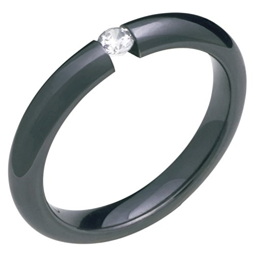 Alain Raphael Stunning Black Titanium Ring with Diamond Tension Set 3mm Wide Wedding Band Black Titanium Tension Rings