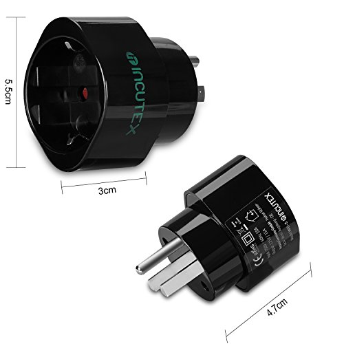 Incutex 2X Adaptador USA Tierra, Adaptador Estados Unidos 3 Pin, Adaptador USA Tipo B, Negro