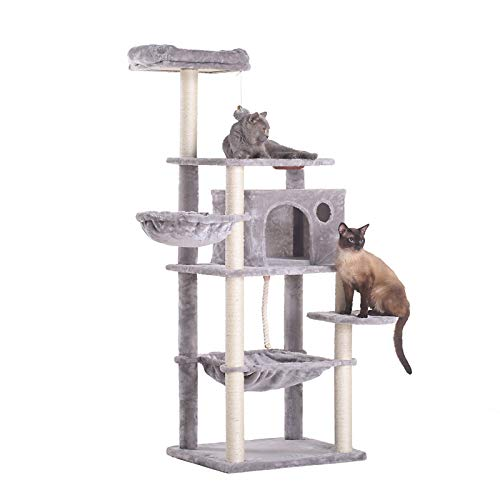 Hey-Brother Extra Big Cat Tree with Feeding Bowl, Cat Condos with Sisal Poles, Hammock and Cave,...