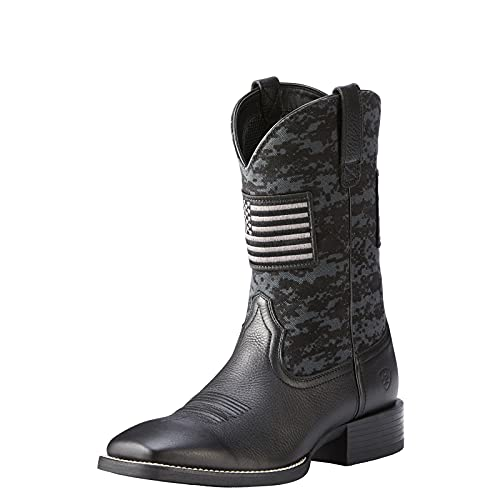 Ariat Men's Sport Patriot Western Boot, Black Deertan/ Black Camo Print, 11.5 D US