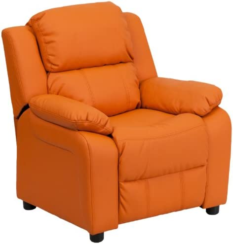 Best Flash Furniture Deluxe Padded Contemporary Orange Vinyl Kids Recliner with Storage Arms