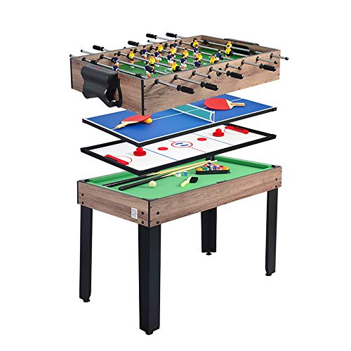 Piarner 4-in-1 Multifunktionstisch Billard/Tischtennis/Eishockey/Billiard Multiplayer Interactive Game Table 8-Bar Kicker Maschine Eltern-Kind-Interactive Freizeit Multi-Funktions-Tabelle