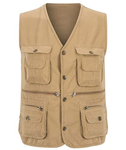Yingqible Heren Multi Pocket Vest Waistcoat Jas Katoen Outdoor Vissen Camping Bovenkleding Mouwloos Top Reizen Fotografie Wandelen Gilet