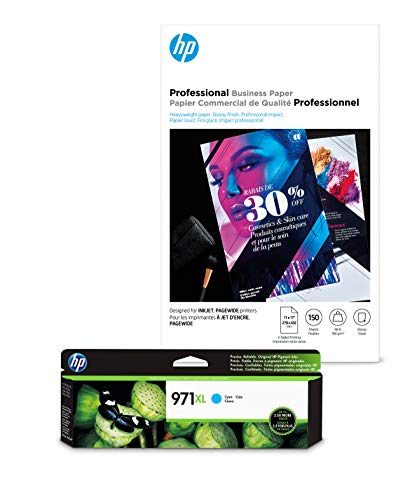 HP 970XL Cyan Ink + HP Professional Business Paper, Glossy, Inkjet, 11x17, 150 sheets