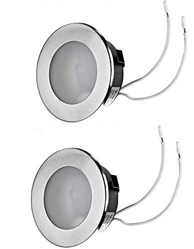 2x Set Flache Möbel Einbauleuchte Unterbauleuchte Einbaustrahler Küchenleuchte Einbauspot 12V flach geeignet für G4 LED/Halogen Lampe 12V bis max. 20W