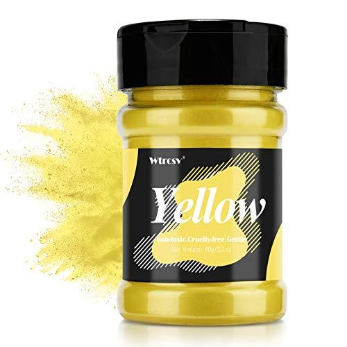 Epoxidharz Farbe metallic, Seifenfarbe - 60g Gelb Pulver - für die Seifenherstellung, Mica Powder, Epoxy Resin Farbe Farbpigmente Pigmentpulver Farben Pigment, Farbe für Epoxidharz, Lipgloss Farbe