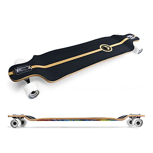 Yocaher Blank/Checker Complete Lowrider Skateboards Longboard Cruiser Black Widow Premium 80A Grip Tape Aluminum Truck ABEC7 Bearing 70mm Skateboard Wheels (Complete - Lowrider - 03 - Black)