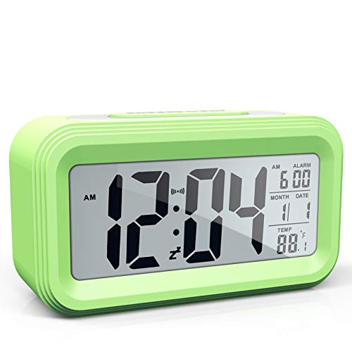 AYRELY Battery Operated Cordless Digital Alarm Clock with Date,Temperature,Smart Sensor Light,12/24Hr,Snooze for Bedrooms,Office,Heavy Sleepers,Kids,Girls (Green)