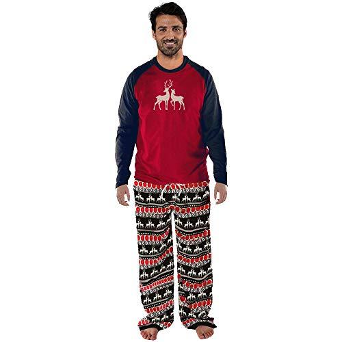Conjunto de Pijamas Familiares de Navidad,Familia Juego Homewear Copo de Nieve Ciervos de la Navidad Impresión...