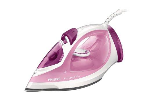 Philips gc2042/402100W Easy Speed rosa/blanco de hierro de vapor con suela cerámica