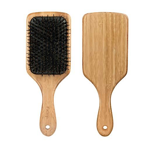 Antistatische Wildschweinborsten Paddle Haarbürste, FaSop. Professionelle Bambus Stylingbürste zur Haarentwirrung und Detangling, geeignet für dickes und langes, glattes und lockiges Haar