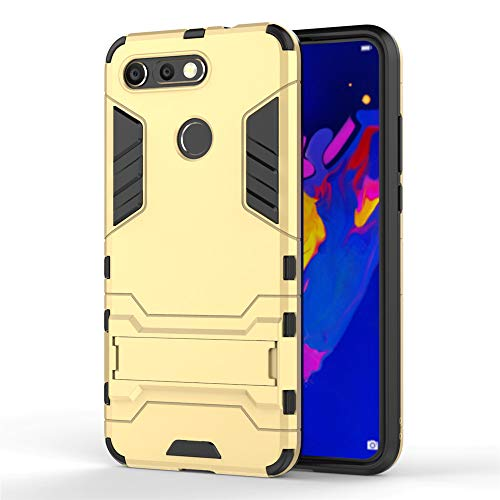 Huawei Honor View 20/V20 Hülle, MHHQ Hybrid 2in1 TPU+PC Schutzhülle Rugged Armor Case Cover Dual Layer Bumper Backcover mit Ständer für Huawei Honor View 20/V20 -Gold