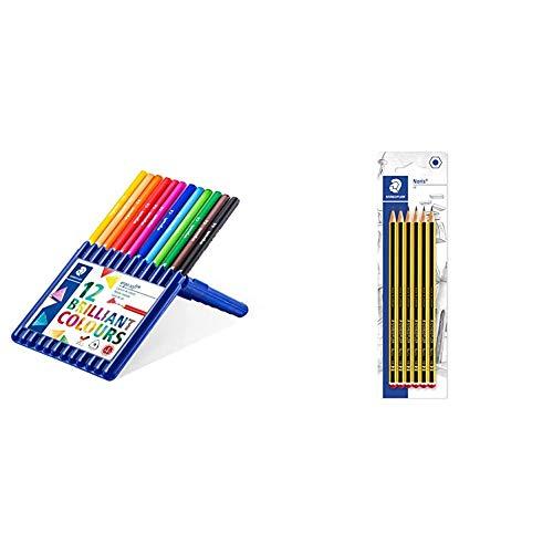 STAEDTLER Ergo Soft - Lápices de (12 Unidades), Multicolor + 120-2BK6DAST, Lápices, Mina HB, 6 unidades, Negro