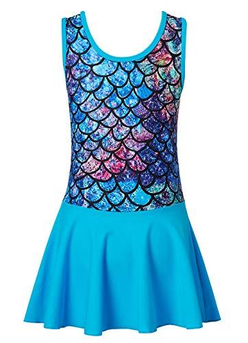 Leotards for Girls Mermaid Blue Gymnastics Skirt One-Piece Swim Dress Sleeveless Ballet Dance Dress with Shorts Sparkly Unitard for Team Basic Activewear 4-5T