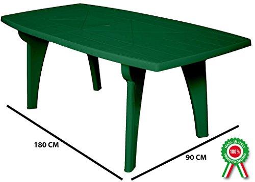SF SAVINO FILIPPO Tavolo tavolino Rettangolare 180x90 Lipari in Dura Resina di plastica Verde con Foro per ombrellone per Esterno casa Balcone Bar sagra da Giardino