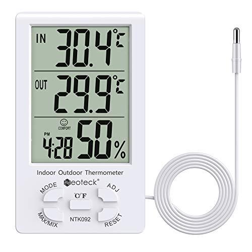 Neoteck Termómetro y Higrómetro Digital LCD de Interior Medidor de Temperatura Interior y Exterior Valor Mínimo/Máximo Cable de Sensor de 9.8 pies/3 m para la Gestión del Aire Acondicionado