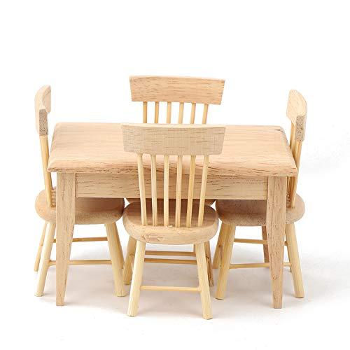 Mobili per la casa delle bambole, tavolo e sedie in miniatura, decorazioni fai-da-te simulate amanti della casa delle bambole in legno per adulti aman