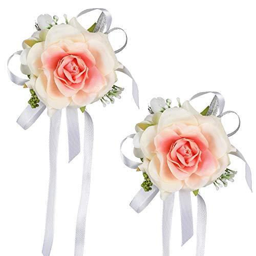 YQing, 2 braccialetti da polso a forma di rosa, per damigella d'onore, da polso, per feste, balli studenteschi, decorazioni floreali