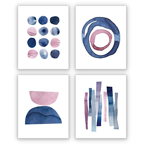 Wall Art Prints for Bedroom Living Room Kitchen | 8X10 | UNFRAMED | Abstract Pink and Blue Watercolor Paintings | Digital Prints | Home Decor Accents | Home Decorations | Set of 4
