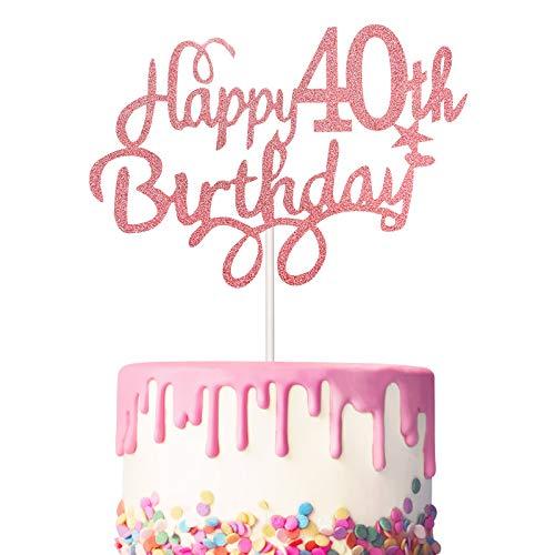3 Stück 40. Geburtstag Kuchen Topper Happy 40th Birthday Kuchen Cupcake Topper Picks Glitzer Kuchen Dekoration für 40. Geburtstag Party Lieferung, Rose Gold