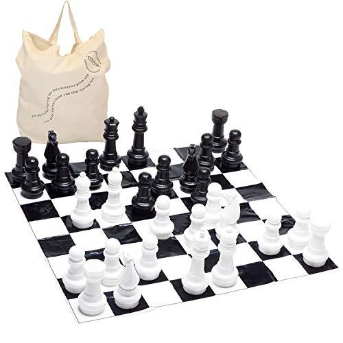 Garden Games Riesige Schach Gartenschachspiel 30 Zentimeter hoch mit 1.2 Meter quadratischer Matte