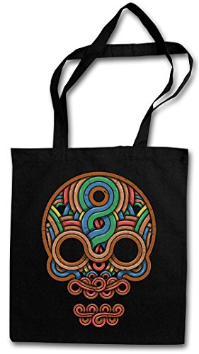 "INCA SKULL ""J"" Borse riutilizzabili per la spesa – cranio Inka Mayans Maya Aztecs Azteken American Indians Sugar Candy Skull Mexican Tattoo Flash Psychobilly Latino"