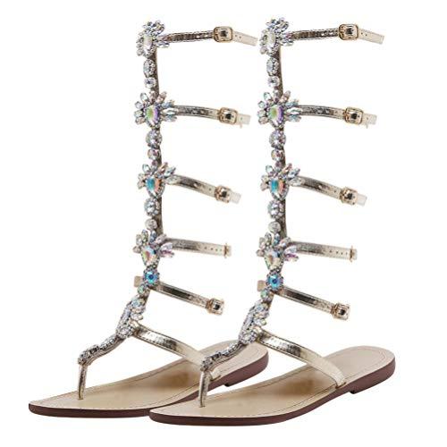 Happyyami Gladiator Sandalen Frau Knie Lange römische Sommerstiefel Zange Schnalle Strass Dekoration Strand Sommerschuhe Mode Stiefel Sandalen Elegant Bequem