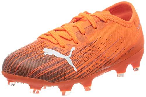 PUMA Ultra 2.1 FG/AG JR, Zapatillas de fútbol Unisex Adulto, Schockierendes Orange Schwarz, 39 EU