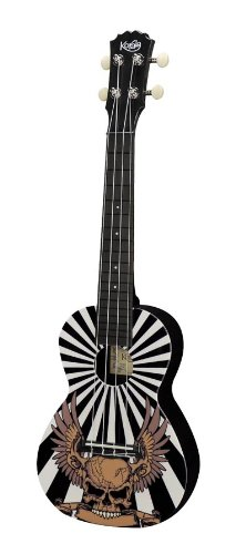 Korala - Ukelele de concierto de policarbonato Korala con precisión y cuerdas de Aquila, diseño de calavera de águila